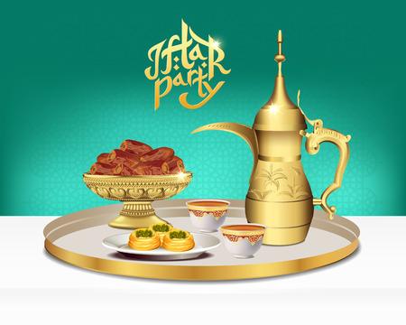 Arabic tea set with bowl of dates. Ramadan iftar party food. 3d vector illustration
