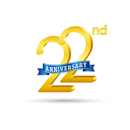 22 years anniversary logo with blue ribbon isolated on white   background
