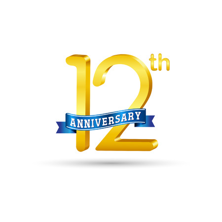 12 years anniversary logo with blue ribbon isolated on white   background