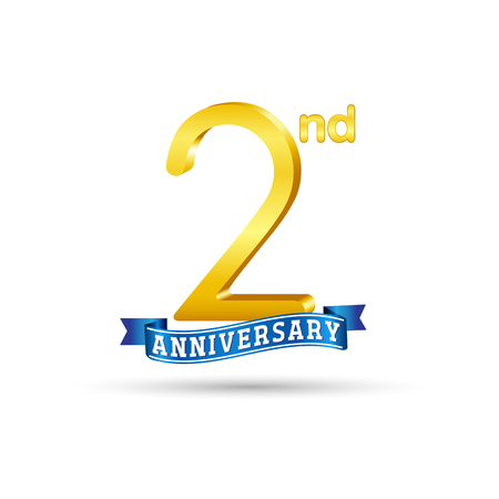 2 years anniversary logo with blue ribbon isolated on white   background