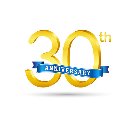 30 years anniversary logo with blue ribbon isolated on white   background