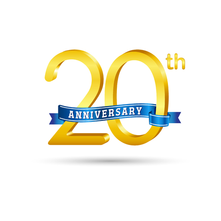 20 years anniversary logo with blue ribbon isolated on white   background