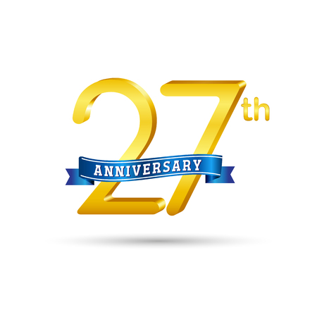 27 years anniversary icon with blue ribbon isolated on white   background