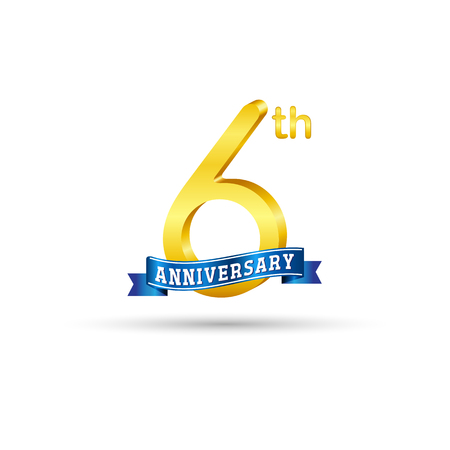 6 years anniversary icon with blue ribbon isolated on white   background