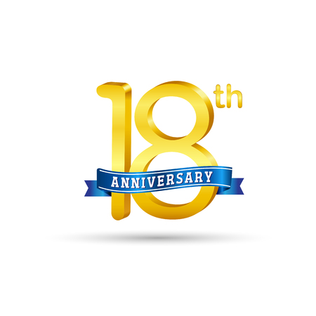 18 years anniversary icon with blue ribbon isolated on white   background Çizim