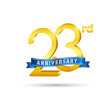 23 years anniversary logo with blue ribbon isolated on white   background Stok Fotoğraf - 102956490