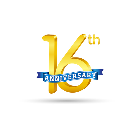 16 years anniversary logo with blue ribbon isolated on white   background