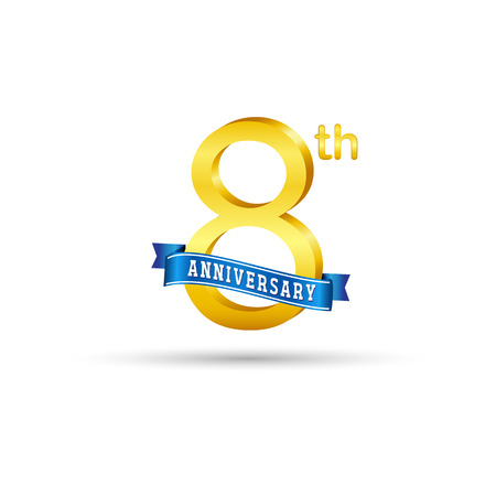 8 years anniversary icon with blue ribbon isolated on white   background