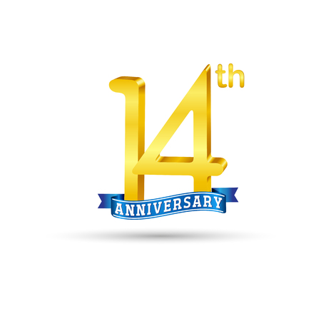 14 years anniversary logo with blue ribbon isolated on white   background