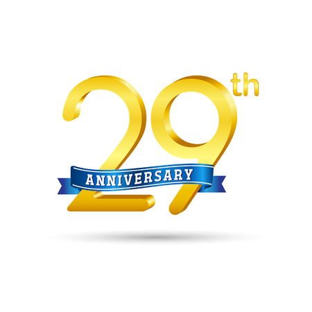 29 years anniversary logo with blue ribbon isolated on white   background
