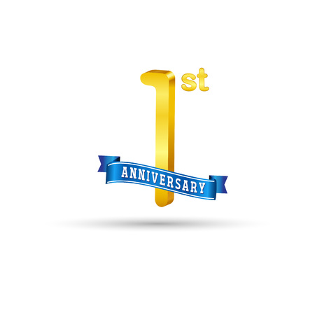 1 year anniversary logo with blue ribbon isolated on white   background