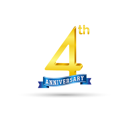 4 years anniversary logo with blue ribbon isolated on white   background