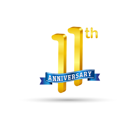 11 years anniversary logo with blue ribbon isolated on white   background