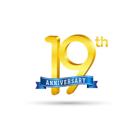 19 years anniversary logo with blue ribbon isolated on white   background