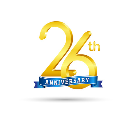 26 years anniversary logo with blue ribbon isolated on white   background