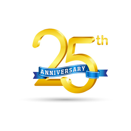 25 years anniversary logo with blue ribbon isolated on white   background Çizim