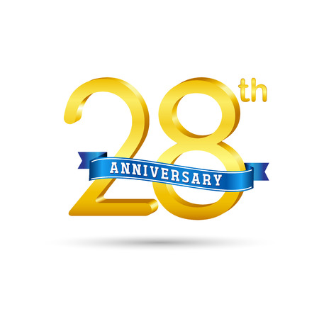28 years anniversary logo with blue ribbon isolated on white   background Çizim