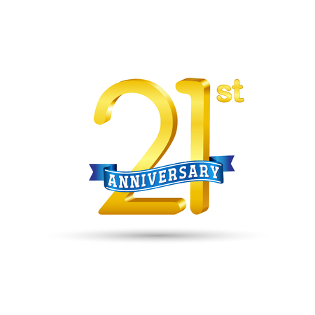 21 years anniversary logo with blue ribbon isolated on white   background