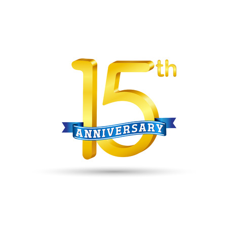 15 years anniversary logo with blue ribbon isolated on white   background
