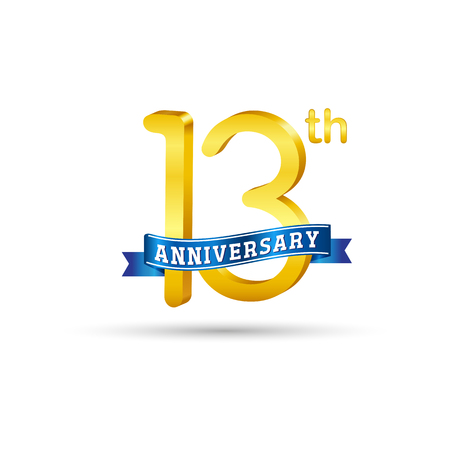 13 years anniversary logo with blue ribbon isolated on white   background Çizim
