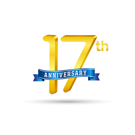 17 years anniversary logo with blue ribbon isolated on white   background Stok Fotoğraf - 102956489