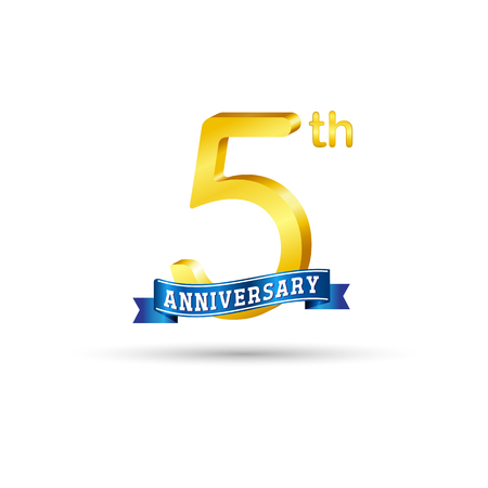 5 years anniversary logo with blue ribbon isolated on white   background