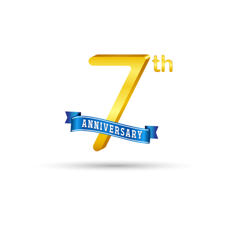 7 years anniversary logo with blue ribbon isolated on white   background