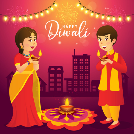 Cute cartoon indian kids in traditional clothes holding diya (oil lamp) on urban city background celebrating the festival of lights Diwali or Deepavali