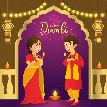 Cute cartoon indian kids in traditional clothes holding diya (oil lamp) with hanging lantern and light bulbs celebrating the festival of lights Diwali or Deepavali Çizim