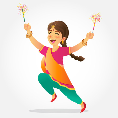Cute cartoon indian girl in traditional clothes jumping and playing with firecracker celebrating  the festival of lights Diwali or Deepavali isolated on white background Illustration