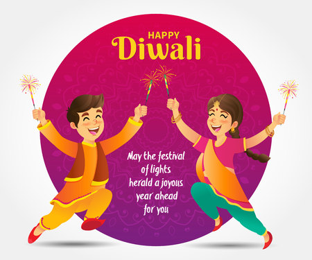 Cute cartoon indian kids in traditional clothes jumping and playing with firecracker celebrating the festival of lights Diwali or Deepavali