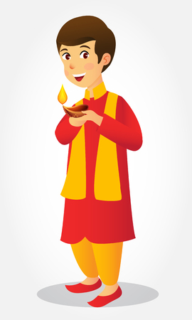 Cute carton indian boy holding diya (india oil lamp) and wishing everyone a happy diwali festival of lights Çizim