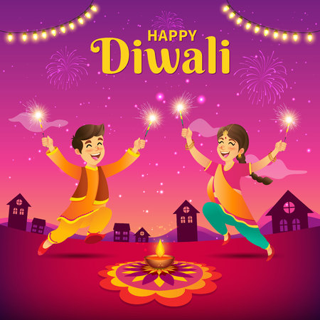 Cute cartoon indian kids in traditional clothes jumping and playing with firecracker celebrating  the festival of lights Diwali or Deepavali on sky background. Illustration