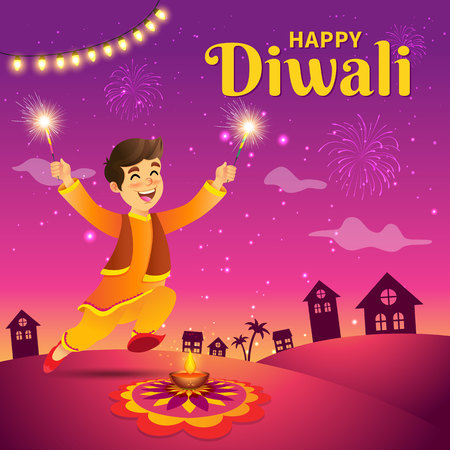 Cute cartoon indian boy in traditional clothes jumping and playing with firecracker celebrating the festival of lights Diwali or Deepavali on sky background