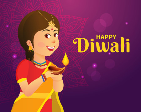 Cute carton indian girl holding diya (india oil lamp) and wishing everyone a happy diwali festival of lights Çizim