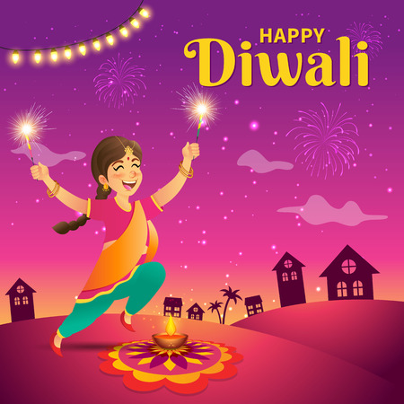 Cute cartoon indian girl in traditional clothes jumping and playing with firecracker celebrating the festival of lights Diwali or Deepavali on sky background