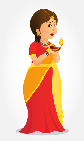 Cute carton indian girl holding diya (india oil lamp) and wishing everyone a happy diwali- festival of lights