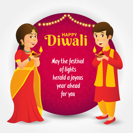 Cute cartoon indian kids in traditional clothes holding diya (oil lamp) with template text celebrating the festival of lights Diwali or Deepavali Ilustração