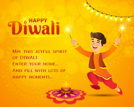 Happy Diwali greeting card. Cute cartoon indian boy in traditional clothes jumping and playing with firecracker celebrating  Diwali with template text on yellow background Çizim