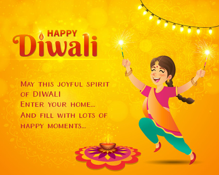 Happy Diwali greeting card. Cute cartoon indian girl in traditional clothes jumping and playing with firecracker celebrating  Diwali with template text on yellow background