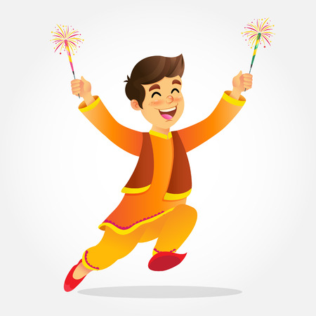 Cute cartoon indian boy in traditional clothes jumping and playing with firecracker celebrating  the festival of lights Diwali or Deepavali isolated on white background Çizim