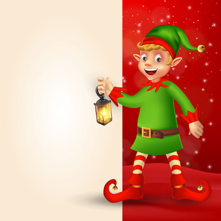 Cute cartoon christmas elf holding Christmas lantern with big blank signboard for text on red background.