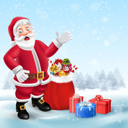 Cute cartoon Santa Claus and bag with presents in Christmas snow scene with place for text