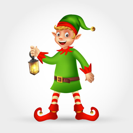 Cute cartoon christmas elf holding Christmas lantern isolated on white background Çizim