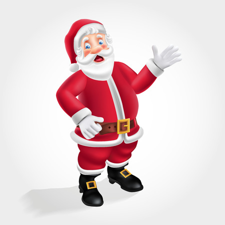 Cute cartoon Santa Claus say hello isolated on white background. vector illustration for christmas and happy new year greeting card
