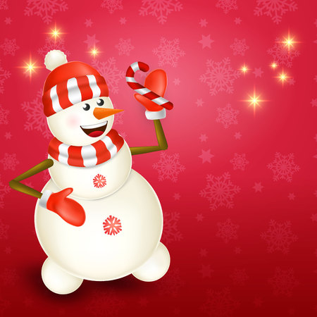Cute cartoon christmas Snowman holding candy cane in red background with place for text Çizim