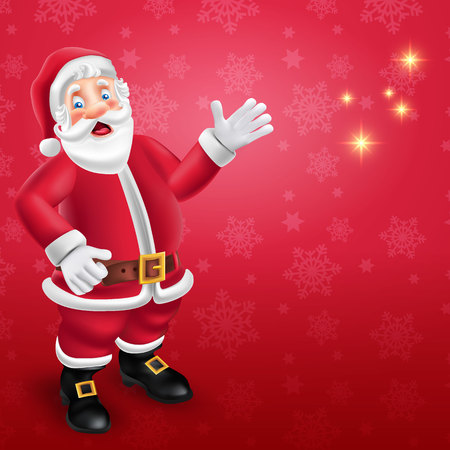 Cute cartoon Santa Claus say hello in red background with place for text