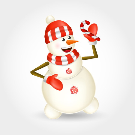 Cute cartoon christmas Snowman holding candy cane isolated on white background. vector illustration for christmas and happy new year greeting card