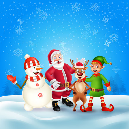 Cute Cartoon Christmas characters. Santa Claus, Snowman, Reindeer and elf in blue snow scene with place for text. Christmas and Happy new year greeting card. Çizim
