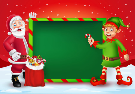 Cute cartoon Santa Claus and elf showing big blank green signboard for text in red Christmas snow scene